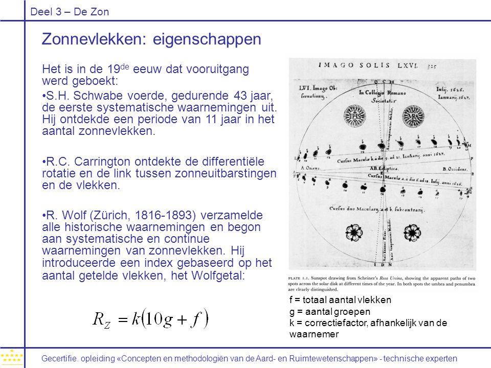 Deel 3 – De Zon Zonnevlekken: eigenschappen Het is in de 19 de eeuw dat vooruitgang werd geboekt: S.H. Schwabe voerde, gedurende 43 jaar, de eerste sy