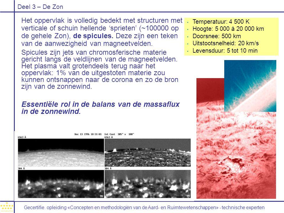 Deel 3 – De Zon Het oppervlak is volledig bedekt met structuren met verticale of schuin hellende 'sprieten' (~100000 op de gehele Zon), de spicules. D