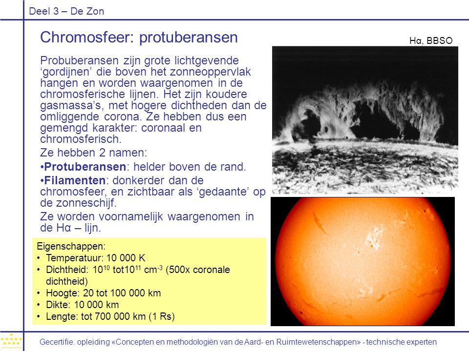 Deel 3 – De Zon Chromosfeer: protuberansen Probuberansen zijn grote lichtgevende 'gordijnen' die boven het zonneoppervlak hangen en worden waargenomen in de chromosferische lijnen.