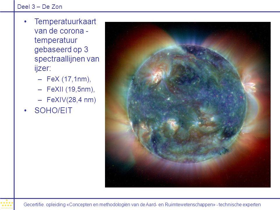 Deel 3 – De Zon Temperatuurkaart van de corona - temperatuur gebaseerd op 3 spectraallijnen van ijzer: –FeX (17,1nm), –FeXII (19,5nm), –FeXIV(28,4 nm) SOHO/EIT Gecertifie.