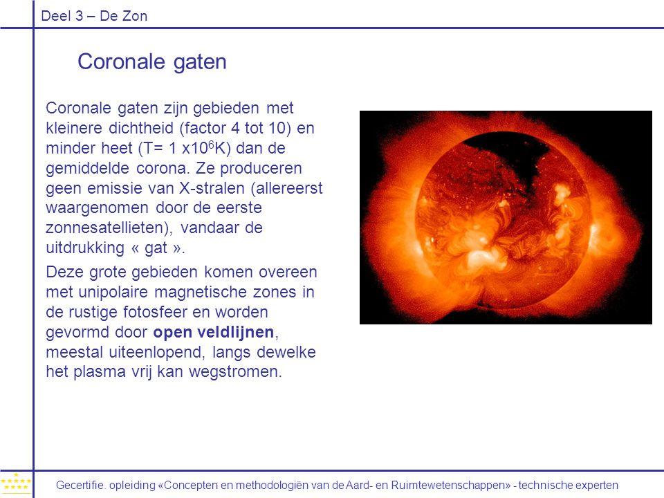 Deel 3 – De Zon Coronale gaten Coronale gaten zijn gebieden met kleinere dichtheid (factor 4 tot 10) en minder heet (T= 1 x10 6 K) dan de gemiddelde corona.