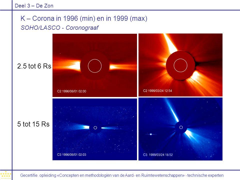 Deel 3 – De Zon K – Corona in 1996 (min) en in 1999 (max) SOHO/LASCO - Coronograaf 2.5 tot 6 Rs 5 tot 15 Rs Gecertifie. opleiding «Concepten en method