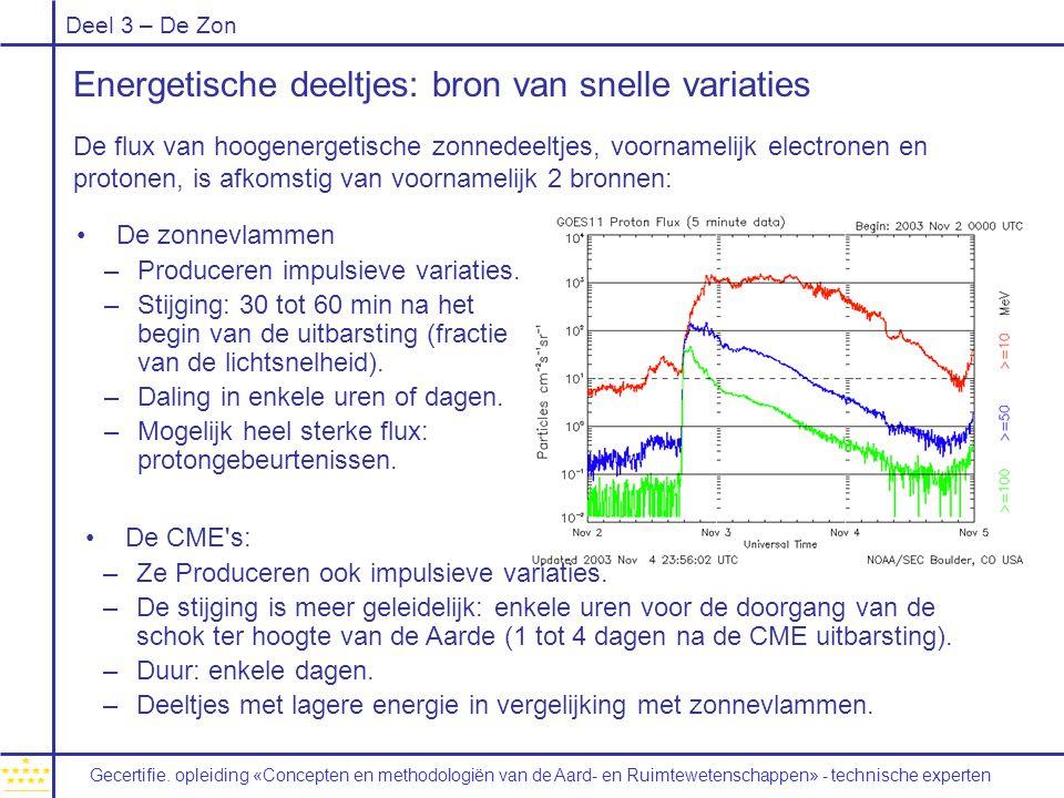 Deel 3 – De Zon Energetische deeltjes: bron van snelle variaties De flux van hoogenergetische zonnedeeltjes, voornamelijk electronen en protonen, is afkomstig van voornamelijk 2 bronnen: De zonnevlammen –Produceren impulsieve variaties.