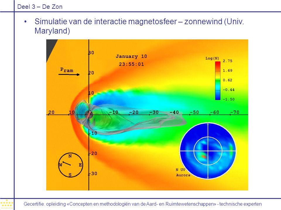 Deel 3 – De Zon Simulatie van de interactie magnetosfeer – zonnewind (Univ. Maryland) Gecertifie. opleiding «Concepten en methodologiën van de Aard-