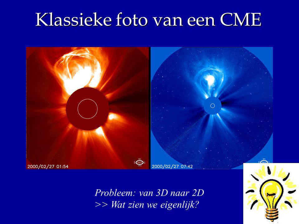 Klassieke foto van een CME Probleem: van 3D naar 2D >> Wat zien we eigenlijk