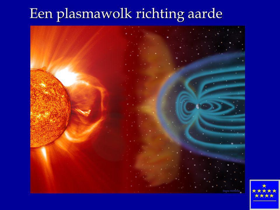 Een plasmawolk richting aarde