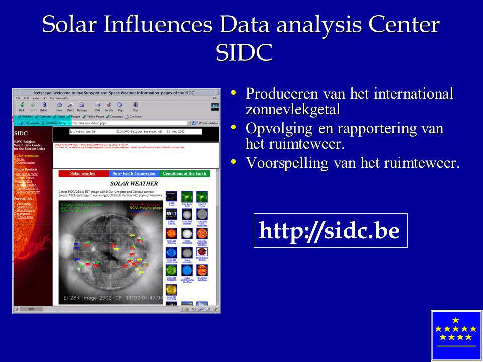 Solar Influences Data analysis Center SIDC Produceren van het international zonnevlekgetal Produceren van het international zonnevlekgetal Opvolging en rapportering van het ruimteweer.