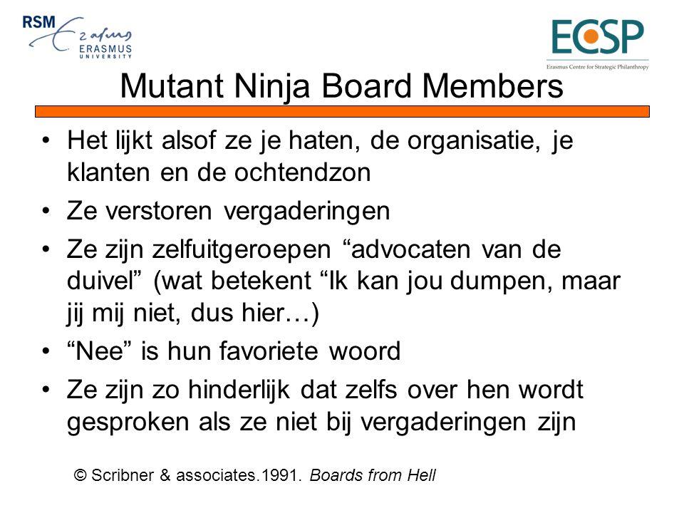 Mutant Ninja Board Members Het lijkt alsof ze je haten, de organisatie, je klanten en de ochtendzon Ze verstoren vergaderingen Ze zijn zelfuitgeroepen advocaten van de duivel (wat betekent Ik kan jou dumpen, maar jij mij niet, dus hier…) Nee is hun favoriete woord Ze zijn zo hinderlijk dat zelfs over hen wordt gesproken als ze niet bij vergaderingen zijn © Scribner & associates.1991.