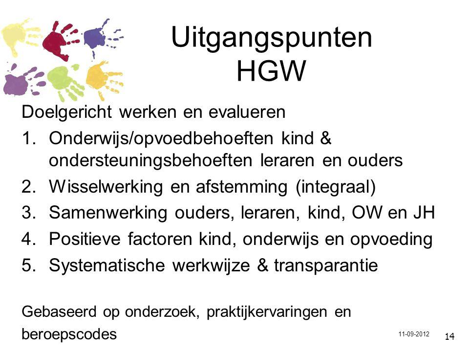 15 Op alle niveaus HGW Groep: groepsplan met – bespreking en observatie (leerkracht en IB-er) Leerlingenbespreking: enkele leerlingen (leerkracht en IB-er) MDO: 1 leerling (leerkracht, IB-er, ouders en 1 of meer externen) Bovenschoolse pool: multidisciplinair, professionals uit onderwijs en zorg 11-09-2012