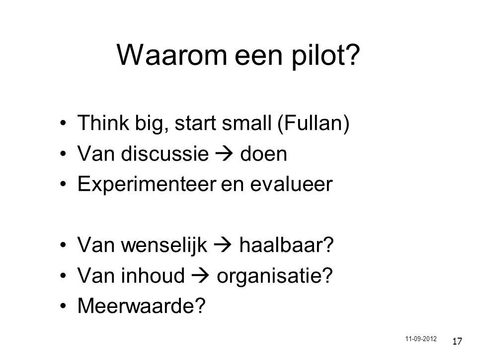 17 Waarom een pilot.
