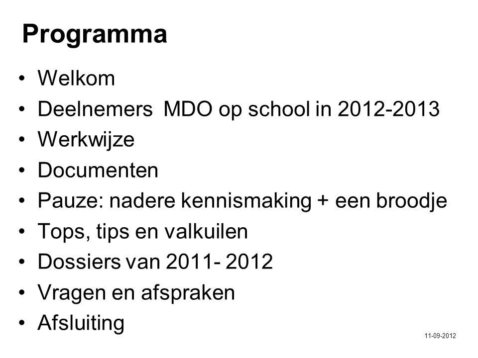 Welkom Deelnemers MDO op school in 2012-2013 Werkwijze Documenten Pauze: nadere kennismaking + een broodje Tops, tips en valkuilen Dossiers van 2011- 2012 Vragen en afspraken Afsluiting Programma 11-09-2012