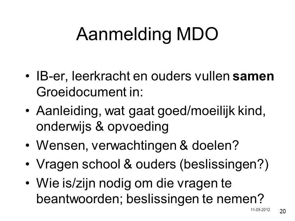 Aanmelding MDO IB-er, leerkracht en ouders vullen samen Groeidocument in: Aanleiding, wat gaat goed/moeilijk kind, onderwijs & opvoeding Wensen, verwachtingen & doelen.