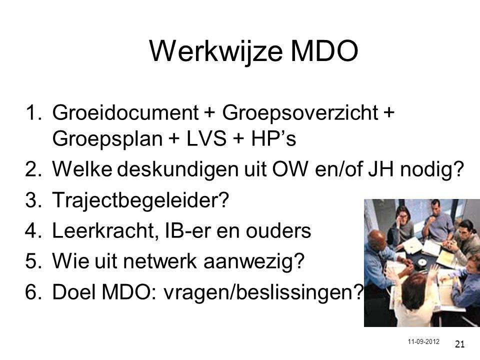 21 Werkwijze MDO 1.Groeidocument + Groepsoverzicht + Groepsplan + LVS + HP's 2.Welke deskundigen uit OW en/of JH nodig.
