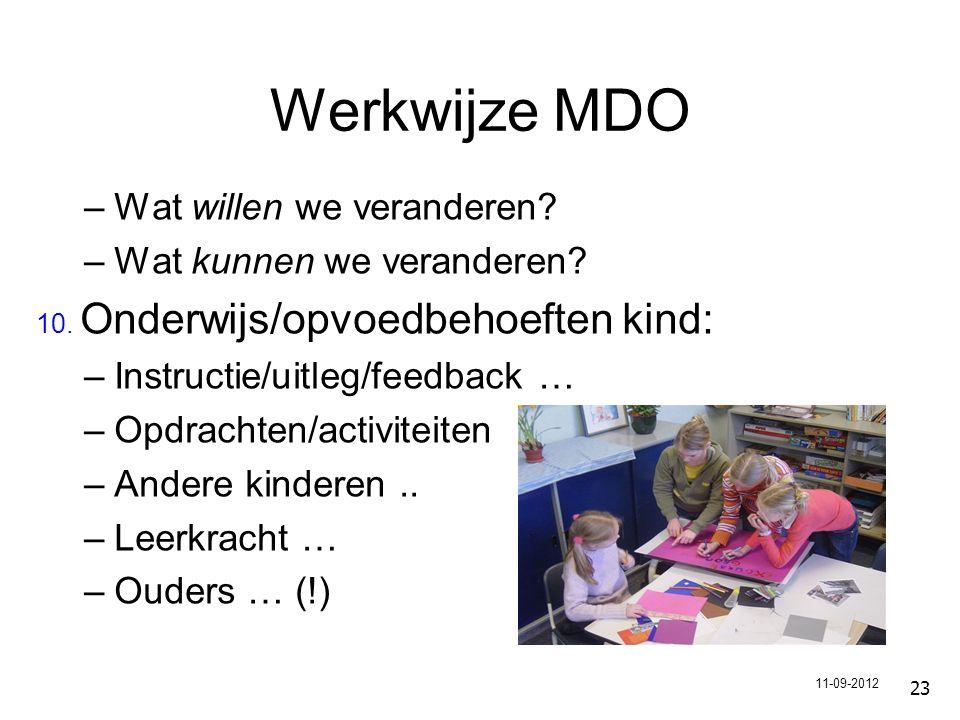 Werkwijze MDO –Wat willen we veranderen.–Wat kunnen we veranderen.