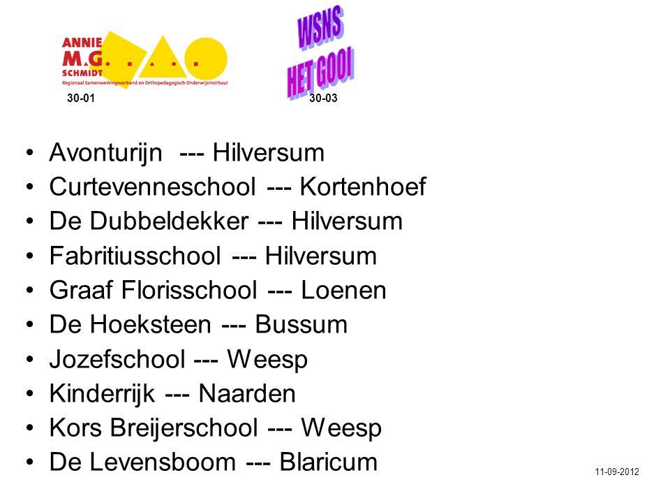 Lorentzschool --- Hilversum Montessorischool Zuid --- Hilversum Nassauschool --- Hilversum Nieuw Baarnse school --- Baarn De Parel --- Huizen De Regenboog --- Kortenhoef Violenschool --- Hilversum Vitusschool --- Bussum De Wegwijzer --- Eemnes Zuidwend --- Eemnes 30-01 30-03 11-09-2012
