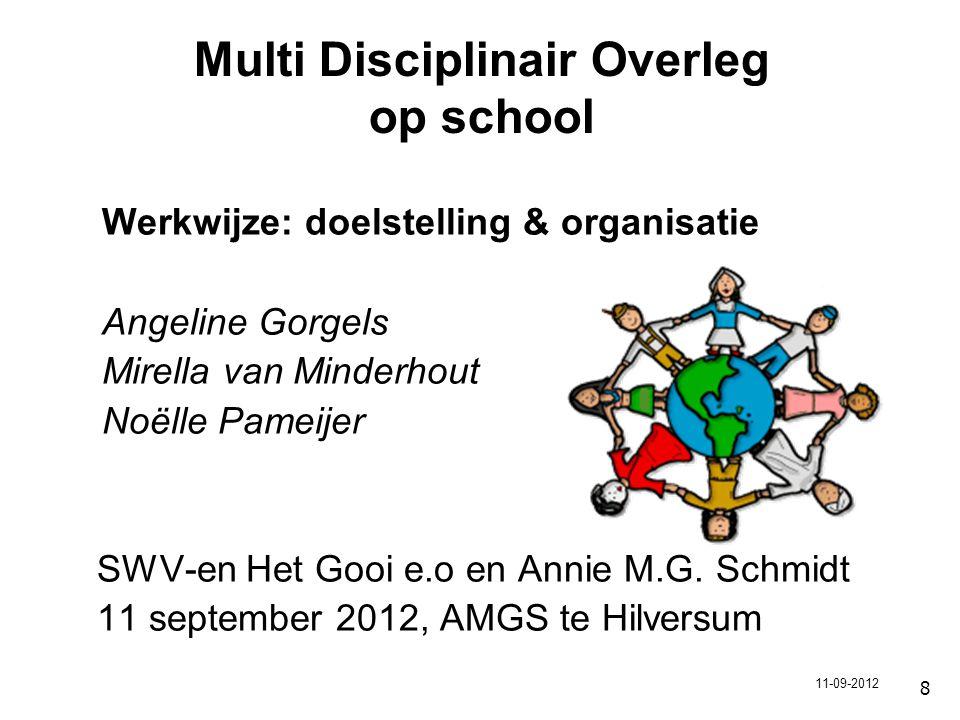 8 Multi Disciplinair Overleg op school Werkwijze: doelstelling & organisatie Angeline Gorgels Mirella van Minderhout Noëlle Pameijer SWV-en Het Gooi e.o en Annie M.G.