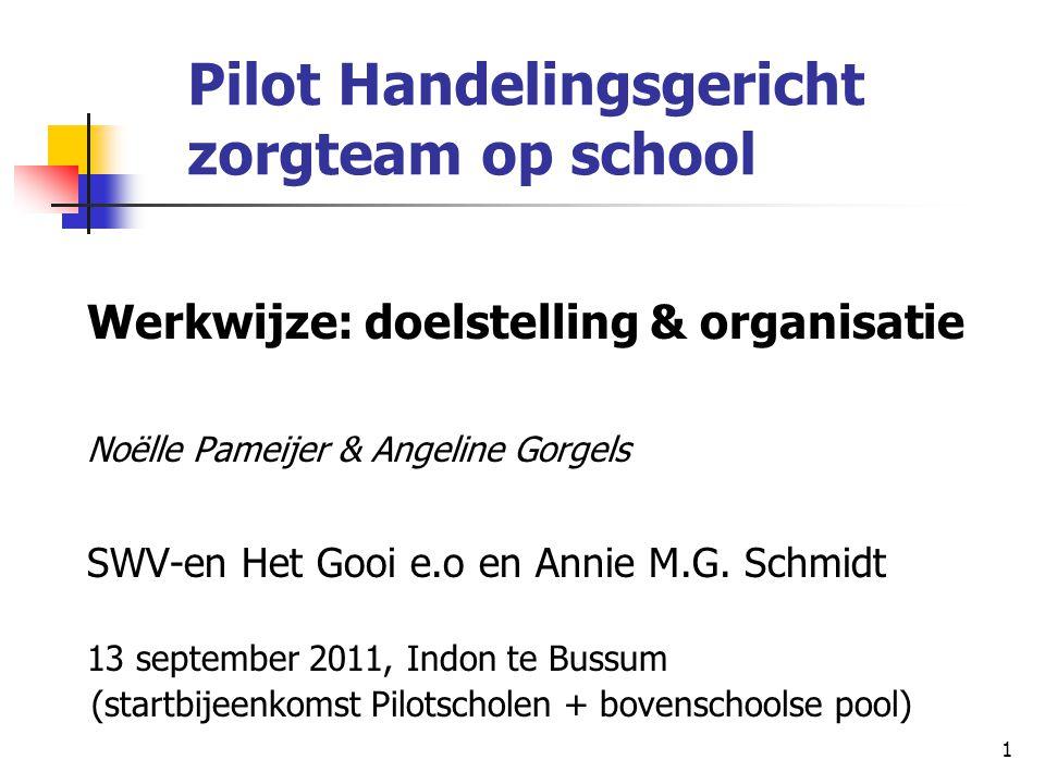 1 Pilot Handelingsgericht zorgteam op school Werkwijze: doelstelling & organisatie Noëlle Pameijer & Angeline Gorgels SWV-en Het Gooi e.o en Annie M.G