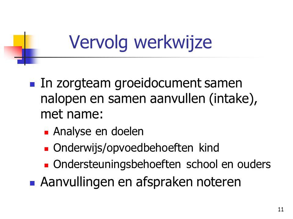 11 Vervolg werkwijze In zorgteam groeidocument samen nalopen en samen aanvullen (intake), met name: Analyse en doelen Onderwijs/opvoedbehoeften kind O