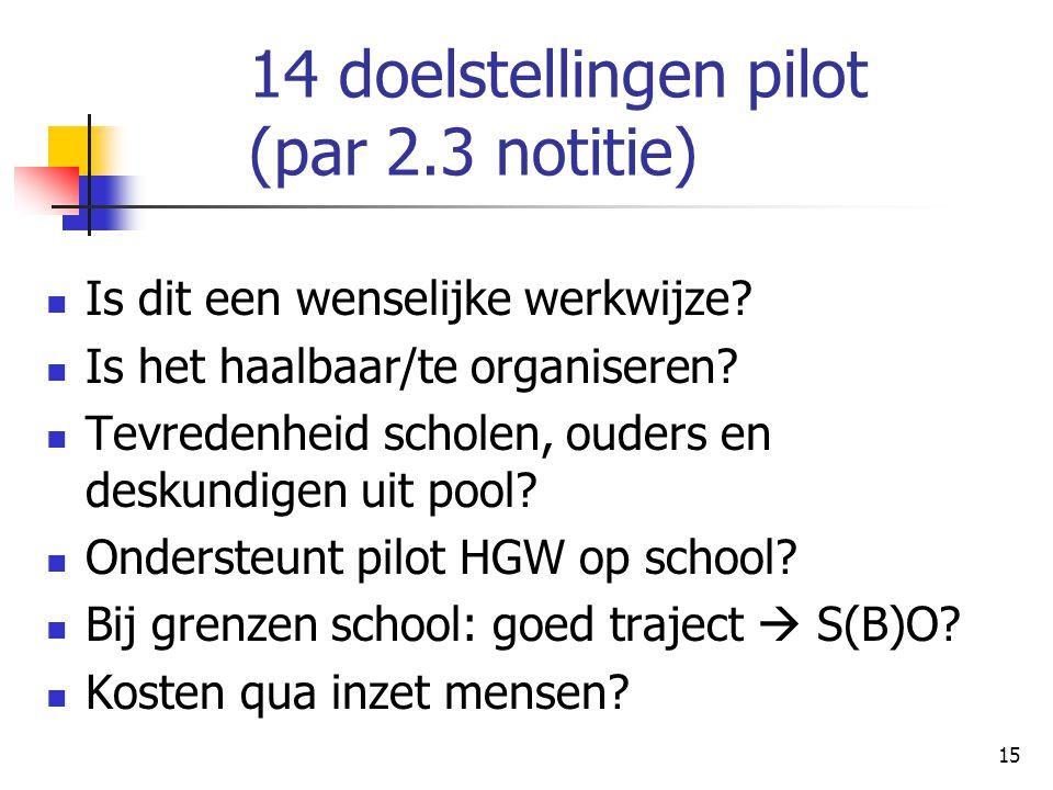 15 14 doelstellingen pilot (par 2.3 notitie) Is dit een wenselijke werkwijze? Is het haalbaar/te organiseren? Tevredenheid scholen, ouders en deskundi