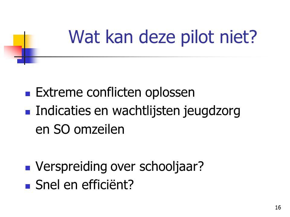 16 Wat kan deze pilot niet? Extreme conflicten oplossen Indicaties en wachtlijsten jeugdzorg en SO omzeilen Verspreiding over schooljaar? Snel en effi