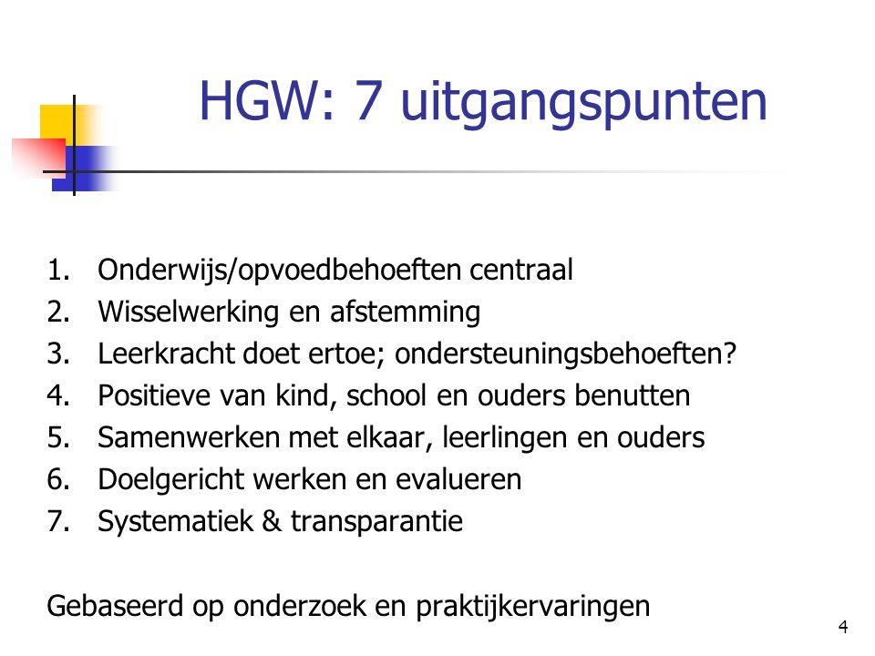 4 HGW: 7 uitgangspunten 1.Onderwijs/opvoedbehoeften centraal 2.Wisselwerking en afstemming 3.Leerkracht doet ertoe; ondersteuningsbehoeften? 4.Positie