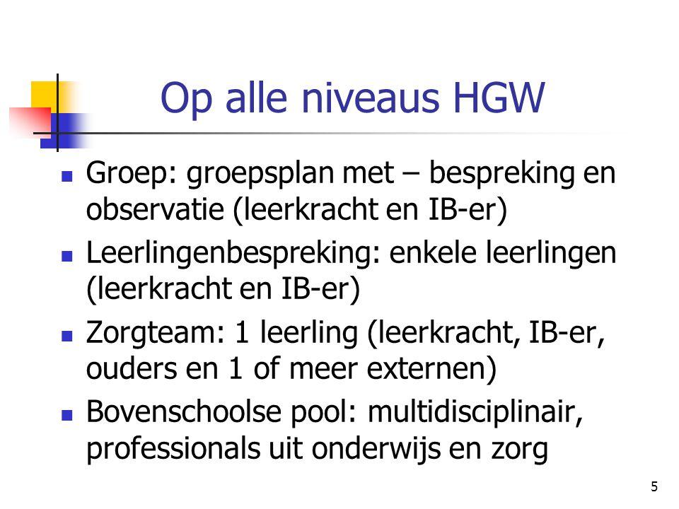 5 Op alle niveaus HGW Groep: groepsplan met – bespreking en observatie (leerkracht en IB-er) Leerlingenbespreking: enkele leerlingen (leerkracht en IB