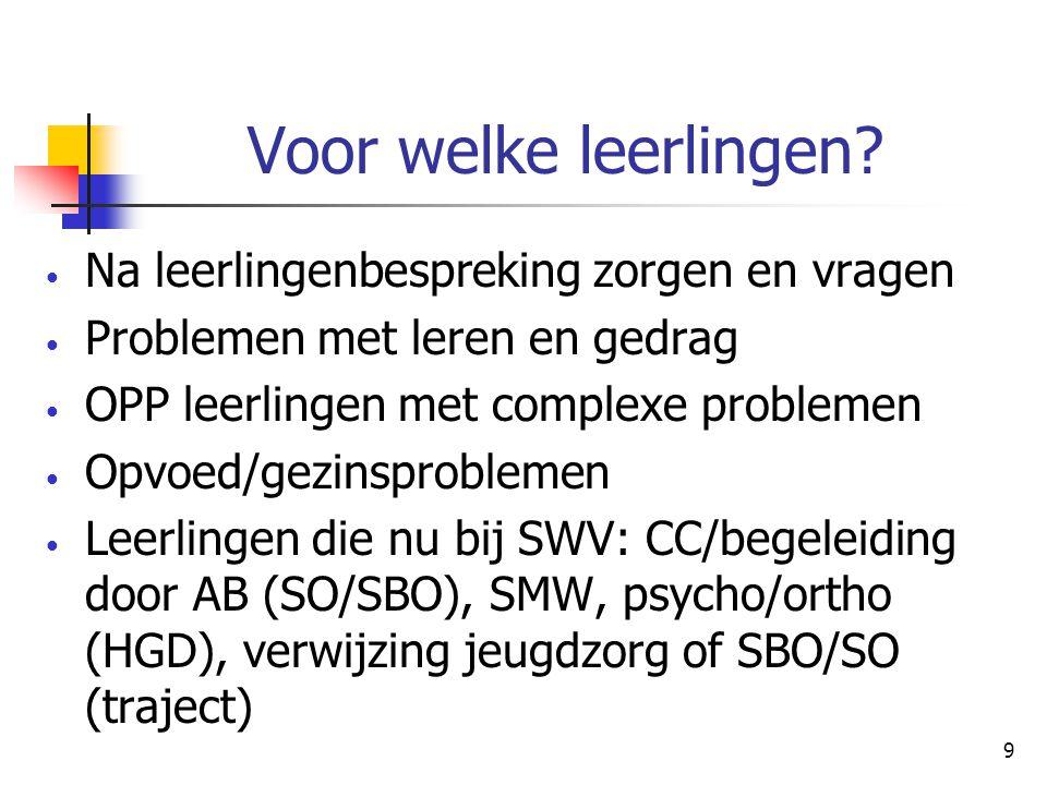 10 Werkwijze handelingsgericht zorgteam Reden van aanmelding en hulpvraag: welke deskundige(n) uit pool.