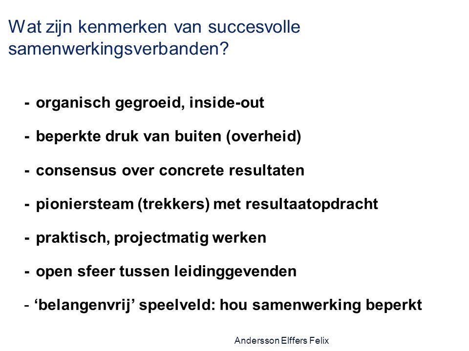 Andersson Elffers Felix Wat zijn kenmerken van succesvolle samenwerkingsverbanden.