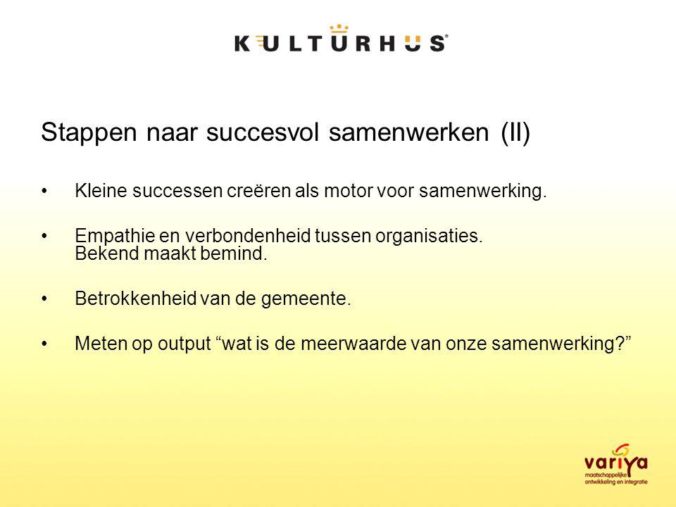Stappen naar succesvol samenwerken (II) Kleine successen creëren als motor voor samenwerking.