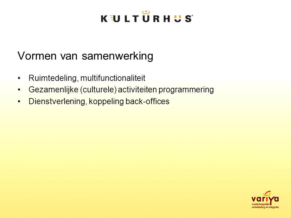 Vormen van samenwerking Ruimtedeling, multifunctionaliteit Gezamenlijke (culturele) activiteiten programmering Dienstverlening, koppeling back-offices