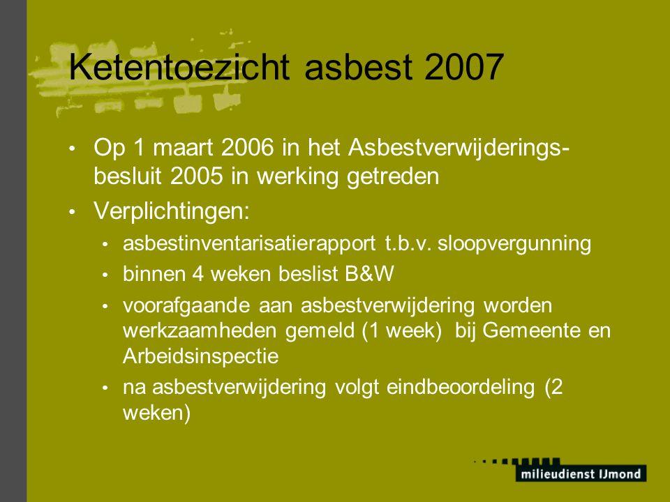 Ketentoezicht asbest 2007 Wet- en regelgeving: Woningwet Hoofdstuk II, afdeling 2, bouwverordening Bouwverordening Artikel 8.1.1, sloopvergunning Arbeidsomstandighedenwet 1998 Arbeidsomstandighedenbesluit Arbeidsomstandighedenregelgeving Beleidsregels Arbowetgeving