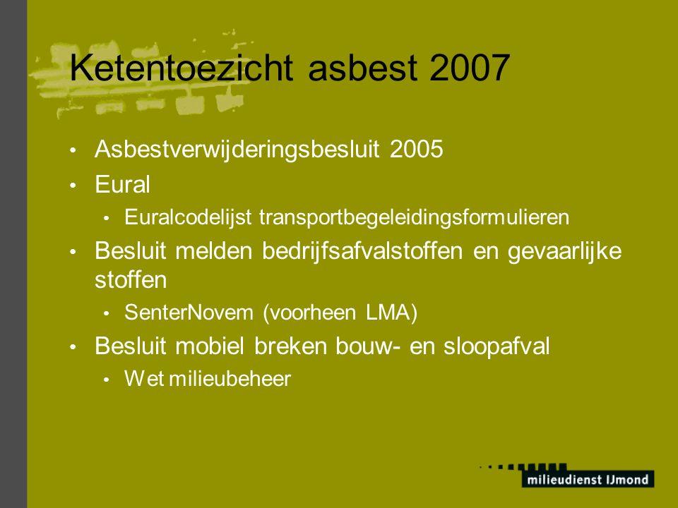 Ketentoezicht asbest 2007 Asbestverwijderingsbesluit 2005 Eural Euralcodelijst transportbegeleidingsformulieren Besluit melden bedrijfsafvalstoffen en