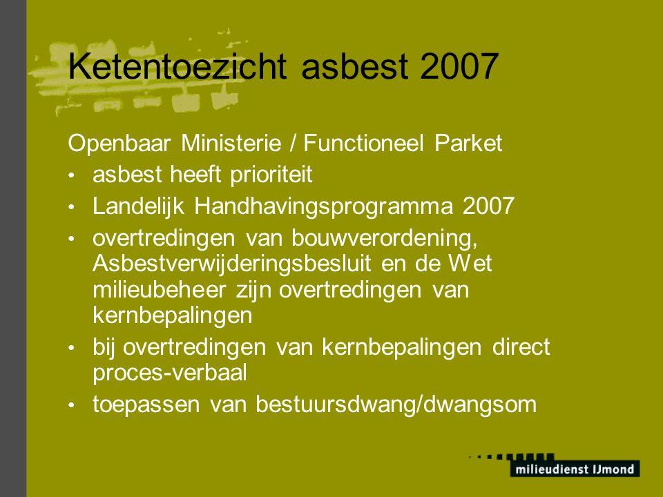 Ketentoezicht asbest 2007 Voorbeelden van sanctiebedragen: Geen asbestinventarisatie € 1.000 – 10.000 Verwijdering door niet gecertificeerd bedrijf € 10.000 – 50.000 of dagvaarden Niet verwijderen asbest voor sloop € 1.000 + € 125 per m 3 of ton