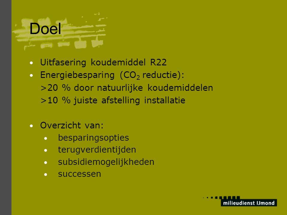 Doel Uitfasering koudemiddel R22 Energiebesparing (CO 2 reductie): >20 % door natuurlijke koudemiddelen >10 % juiste afstelling installatie Overzicht