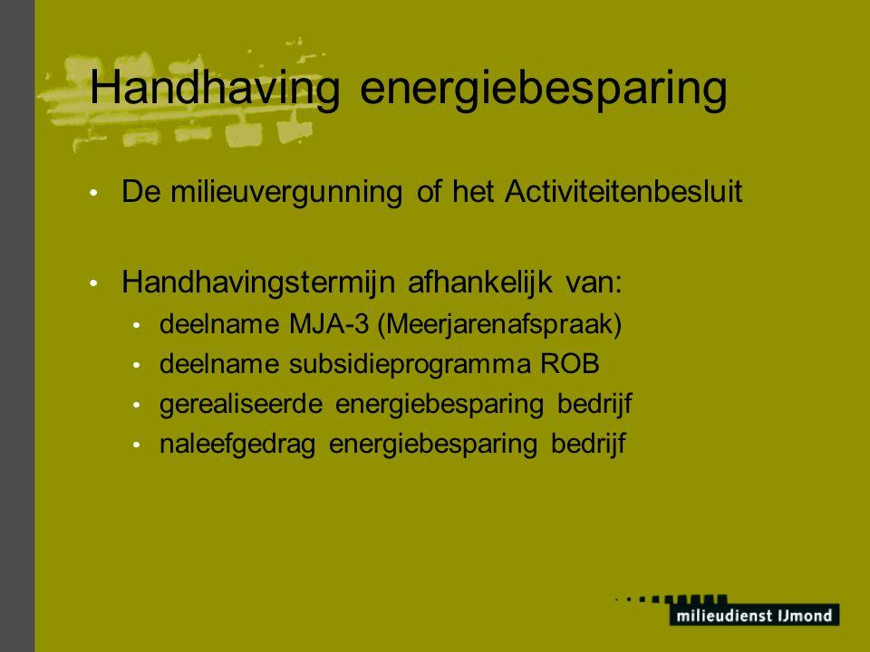 Handhaving energiebesparing De milieuvergunning of het Activiteitenbesluit Handhavingstermijn afhankelijk van: deelname MJA-3 (Meerjarenafspraak) deelname subsidieprogramma ROB gerealiseerde energiebesparing bedrijf naleefgedrag energiebesparing bedrijf