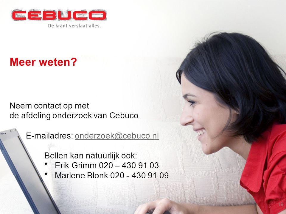 Meer weten.Neem contact op met de afdeling onderzoek van Cebuco.