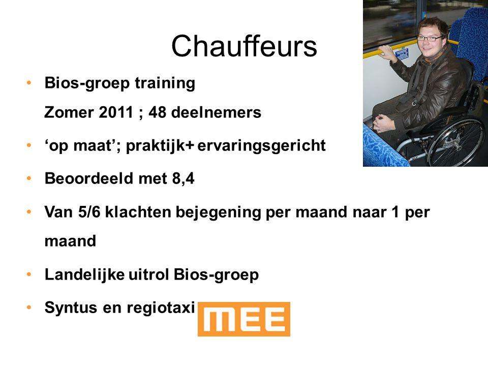 Chauffeurs Bios-groep training Zomer 2011 ; 48 deelnemers 'op maat'; praktijk+ ervaringsgericht Beoordeeld met 8,4 Van 5/6 klachten bejegening per maa