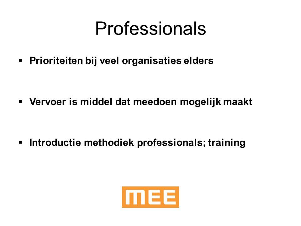 Professionals  Prioriteiten bij veel organisaties elders  Vervoer is middel dat meedoen mogelijk maakt  Introductie methodiek professionals; traini