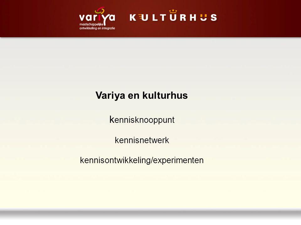 Variya en kulturhus k ennisknooppunt kennisnetwerk kennisontwikkeling/experimenten