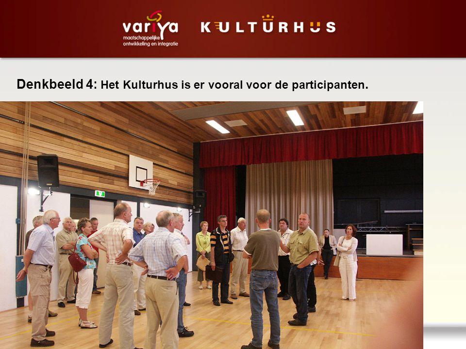 Denkbeeld 4: Het Kulturhus is er vooral voor de participanten.