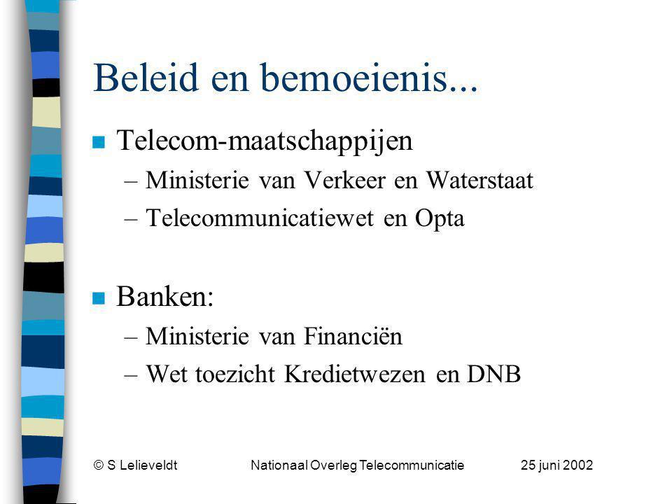 © S Lelieveldt Nationaal Overleg Telecommunicatie 25 juni 2002 Beleid en bemoeienis...