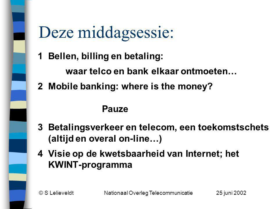 © S Lelieveldt Nationaal Overleg Telecommunicatie 25 juni 2002 Huishoudelijk n Mobiele telefoons uit.