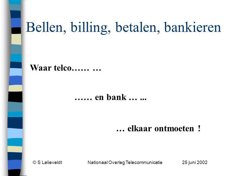 © S Lelieveldt Nationaal Overleg Telecommunicatie 25 juni 2002 Betalen en bankieren - 1 n Onderscheid betalen/bankieren wordt erg belangrijk ivm toepasselijke regels: –Mobiele voorkant met aan achterkant een niet pre-paid betaalmachine (incassomachtiging c.q.