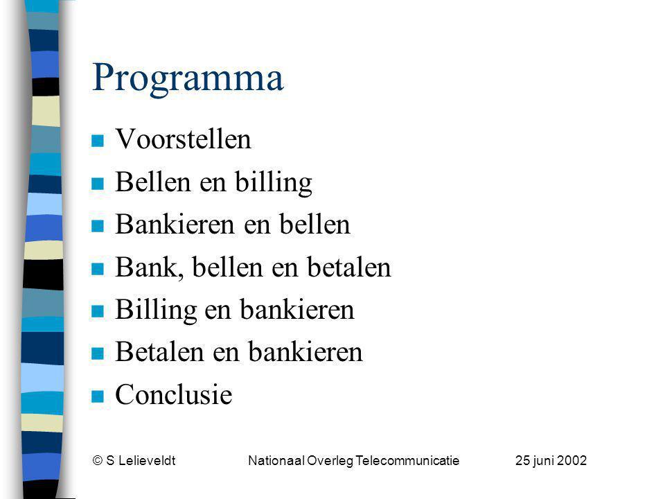 © S Lelieveldt Nationaal Overleg Telecommunicatie 25 juni 2002 Simon Lelieveldt n Bedrijfskundig ingenieur (1989) –Elektronisch betalen goed geregeld.