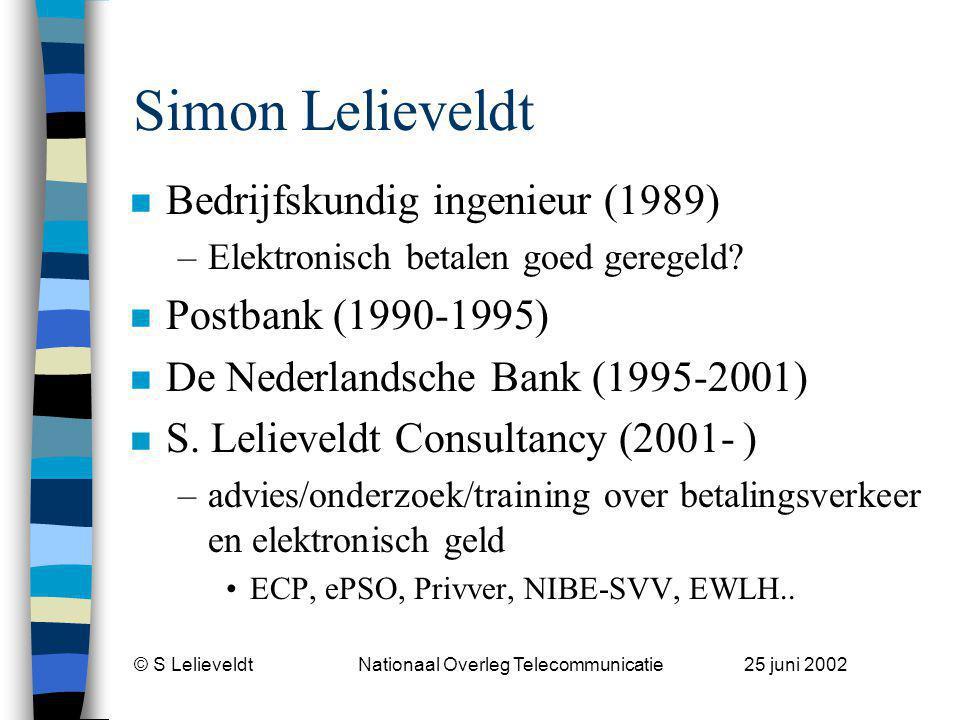 © S Lelieveldt Nationaal Overleg Telecommunicatie 25 juni 2002 Devices Context Raamwerk * Paymen t Processi ng Settleme nt Mode Authenti cat Thuis, toonbank of onderweg * i.s.m.