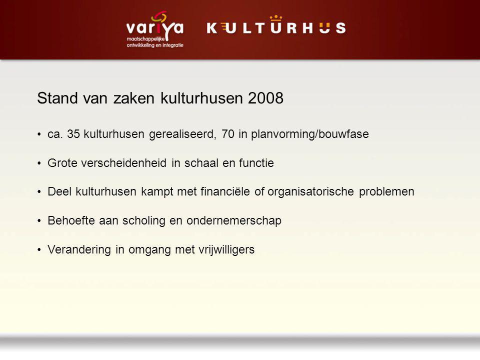 Stand van zaken kulturhusen 2008 ca. 35 kulturhusen gerealiseerd, 70 in planvorming/bouwfase Grote verscheidenheid in schaal en functie Deel kulturhus