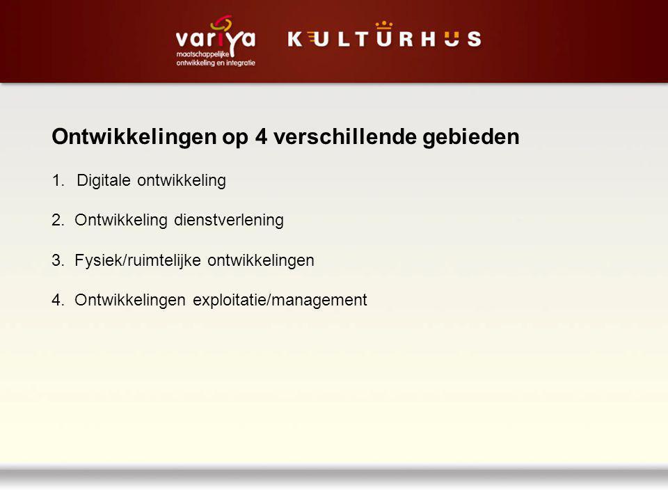 Ontwikkelingen op 4 verschillende gebieden 1.Digitale ontwikkeling 2. Ontwikkeling dienstverlening 3. Fysiek/ruimtelijke ontwikkelingen 4. Ontwikkelin