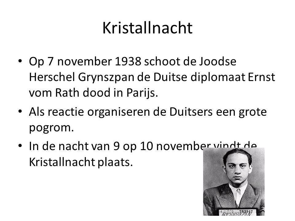 Op 7 november 1938 schoot de Joodse Herschel Grynszpan de Duitse diplomaat Ernst vom Rath dood in Parijs.