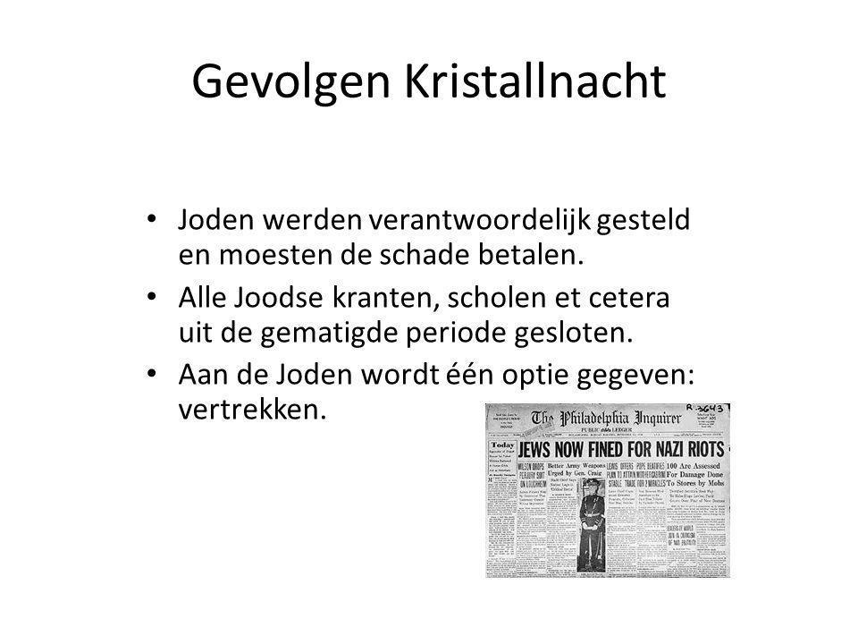 Gevolgen Kristallnacht Joden werden verantwoordelijk gesteld en moesten de schade betalen.