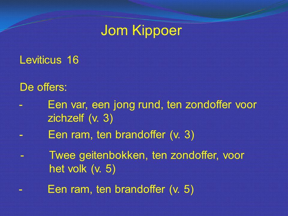 Leviticus 16 Jom Kippoer De offers: - Een var, een jong rund, ten zondoffer voor zichzelf (v. 3) - Een ram, ten brandoffer (v. 3) - Twee geitenbokken,